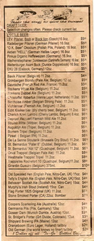 Victory's bottle list