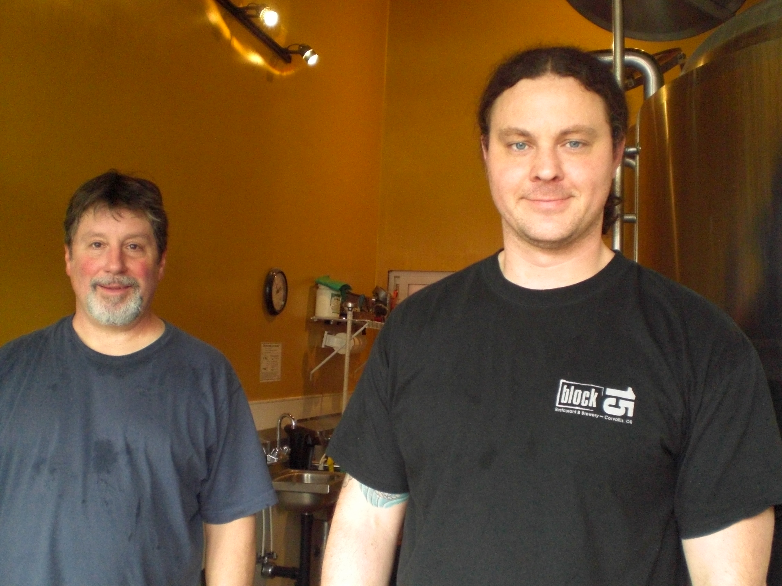 Brewmaster Steve Van Rossem (right) and Nick Arzner of Block 15