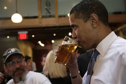 President Obama @ Piece Brewing quaffing the InaugerAle during the 2008 Primaries