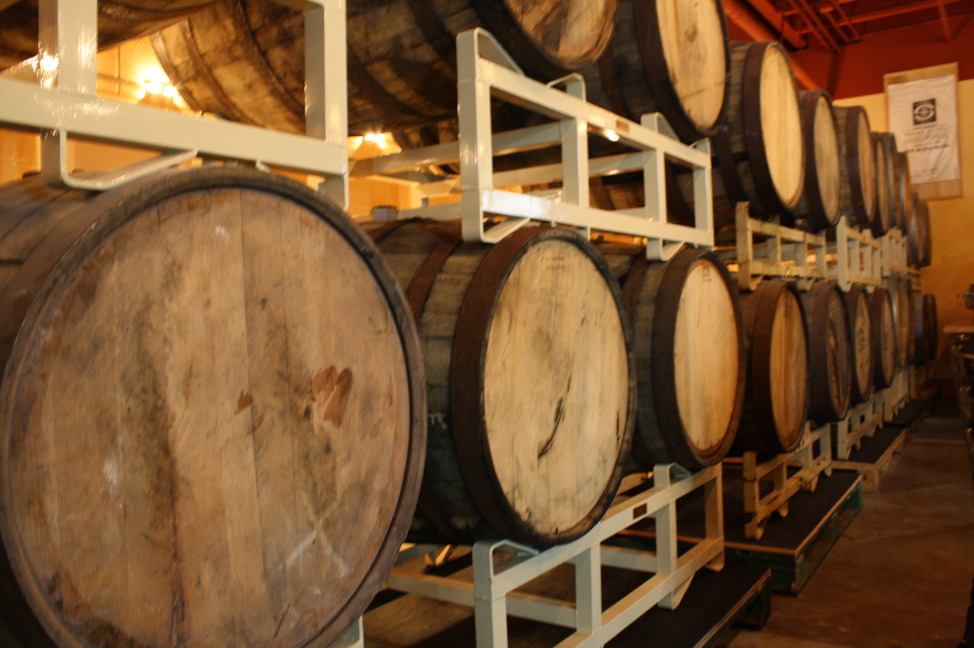 Barrels filled with Lompoc brew at the 5th Quadrant Side Bar