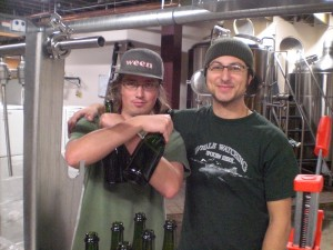 Upright Brewers Gerritt Ill (left) and Alex Ganum Gose for the gold and bottle up some of their most recent creation.