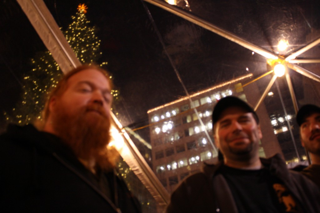 An Ear For Beer's Charles Culp (left) and S.N.O.B. posterboy Ritch Marvin enjoy the fest under the heated tent
