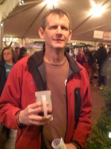Vertigo brewer Michael Haines quaffs a brew at the HAF