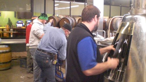 Cascade brewers bottling their Sang Rouge