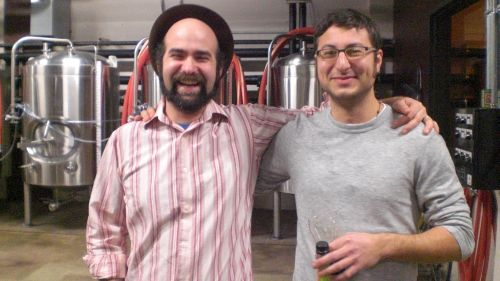 Vasilios Gletsos and Alex Ganum at Taplister Holiday party @ Upright Brewing