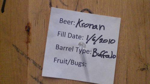 Kronan the Barbarian Baltic Porter aging in Buffalo Trace bourbon barrels