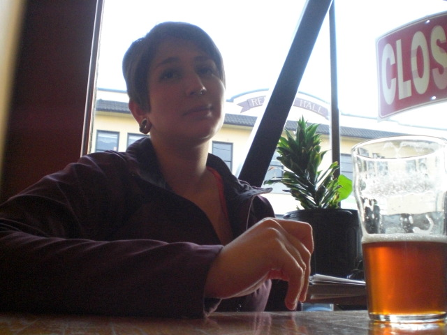 Videographer Alison Grayson enjoys a pint of Ludwig Alt at the Lucky Lab