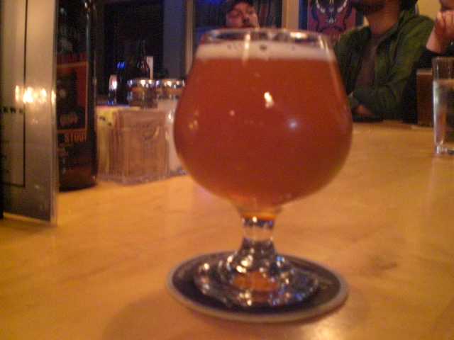 Alameda's Cascadian Farmhouse Ale on tap at the brewpub