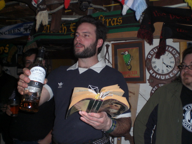 Abram Goldman-Armstrong reads Robbie Burns poety and salutes with a fine single malt