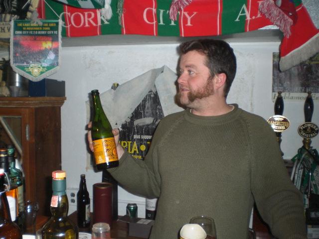 Jesse McCann with a bottle of Lindemans Gueuze Cuvée René