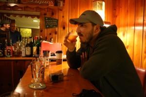 "Ezra ""Samurai Artist"" Johnson-Greenough sampling a Mt. Tabor Pale Ale"