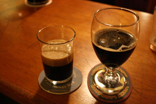 Mt. Tabor Small Bull Stout (left) and Siberian Bull Russian Imperial Stout