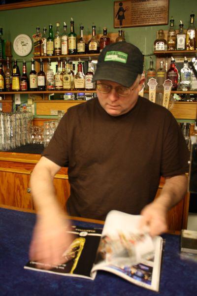 Cascade brewmaster Ron Gansberg peruses through Draft Magazine