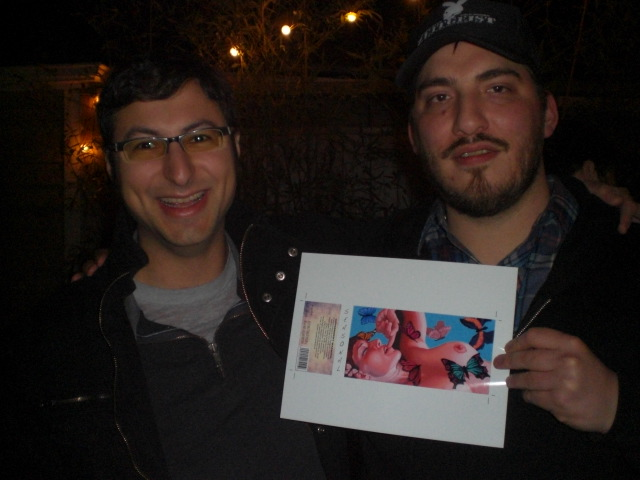 Alex and Ezra with a sneak peak of the Upright Four Play label art designed by Ezra aka Samurai Artist