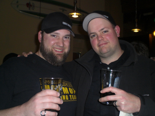 Mountain Peoples' Tim Ensign (left) and Fort George's Chris Nemlowill at Green Dragon Pub & Bistro
