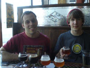 Ben Edmunds and Joey Bosworth with a sampler tray of My Beery Valentine brews