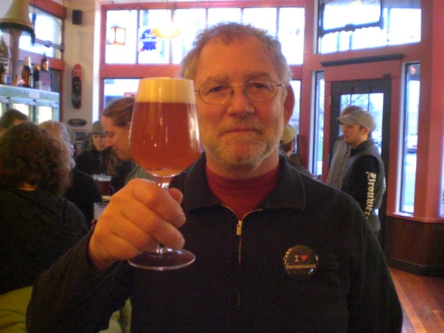 Beer geek Terry MacDonald on the Zwickelmania trail with a glass of Cascade Noyeau blend