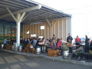 The warm weather made outdoor seating at the Lucky Lab a popular idea during this year's BW + BB festival.