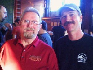 Salmon Creek brewer / founder Larry Pratt (left) and fellow Vancouverite Terry enjoy trekking down tasty brews.