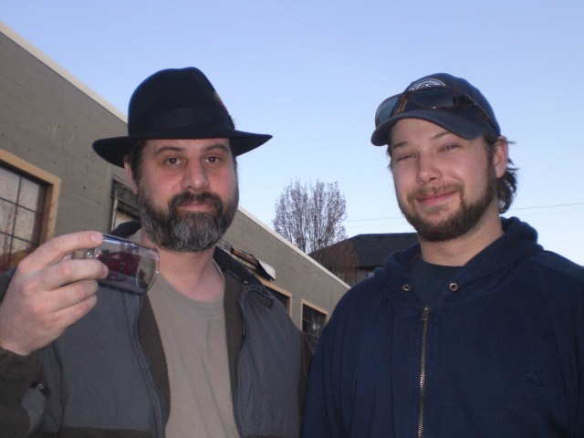 Cascade Brewing's Curtis Bain (left) and Beck need a beer.
