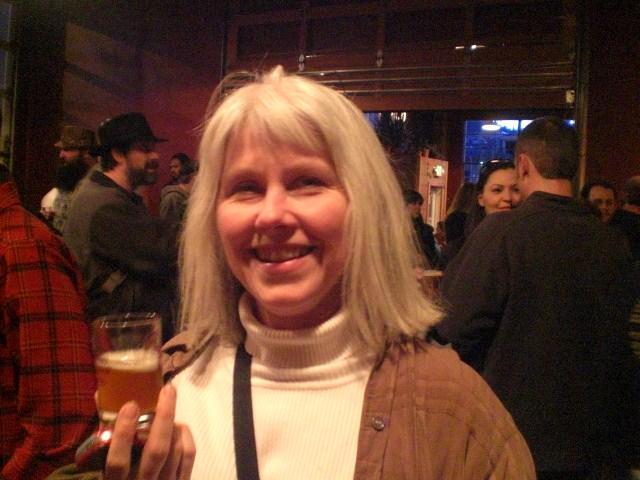 Julie Mikalson enjoys a taster at the fest