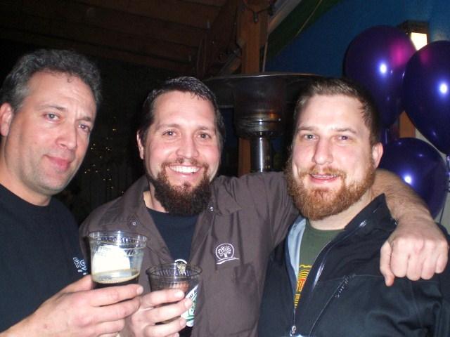 At The Eastburn for O'Dark:30 release: (l to r) beer guru Preston Weesner, Oakshire's Matt Van Wyk, and Hopworks' Ben Love