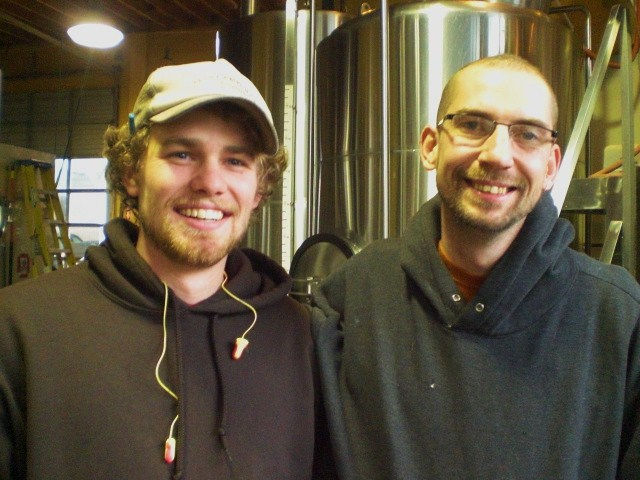 Migration brewer Mike Branes (left) with Lucky Lab brewer Ben Flerchinger