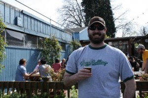 T-shirt weather for Lompoc brewer Zach Beckwith and the BrewPubliCrawlers at the Hedge House during the first day of spring.