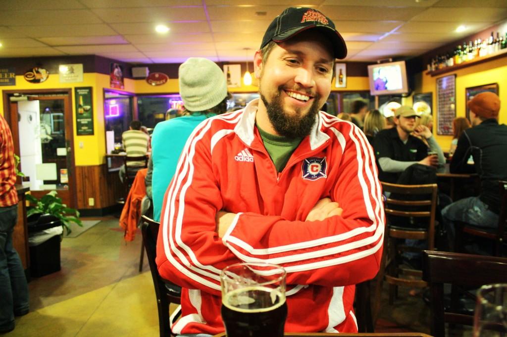 Oakshire brewmaster Matt Van Wyk enjoys a brew at The Bier Stein in Eugene, Oregon