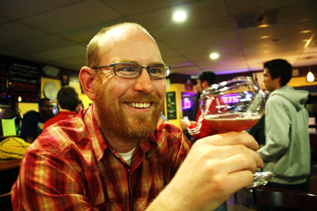 Oakshire founder Jeff Althouse enjoys a glass of Cantillon Saint Lamvinus at The Bier Stein in Eugene, Oregon