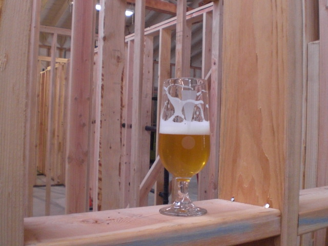 A glass of Cascade Summer '09 Gose in the soon to be wall space of the Barrel Room