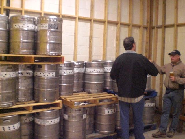 "Preston ""Gonzo"" Weesner (left) and Brewmaster Ron Gansberg in future keg cooler of Cascade Barrel Room"