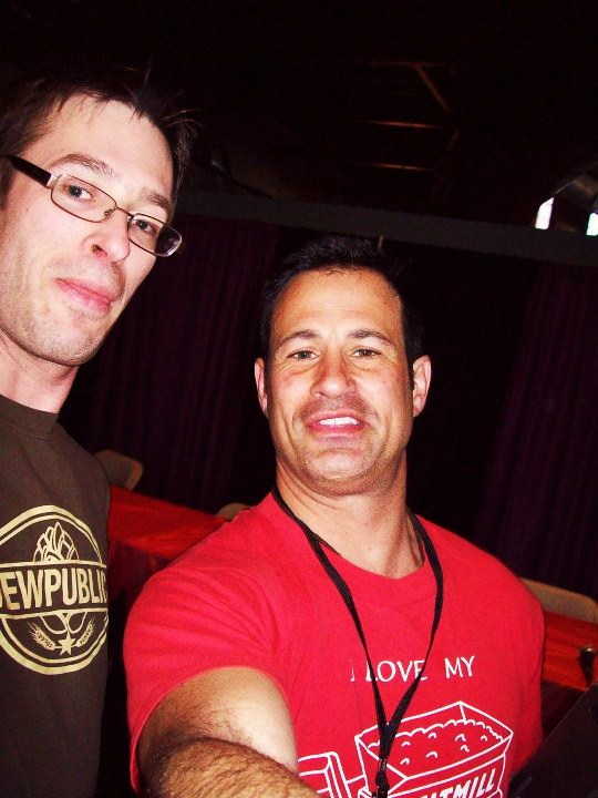 Brewpublic's Marc Demeule (left) and Dogfish Head founder Sam Calagione