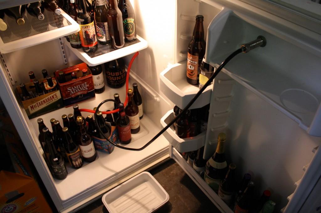 beer fridge fully stocked