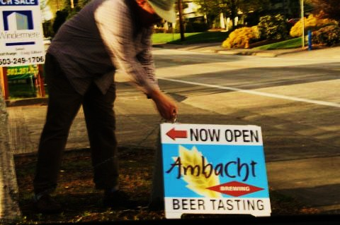 Ambacht founder-brewer Tom Kramer takes in sign at the end of the day