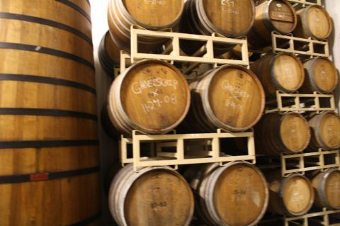 Allagash's barrel room