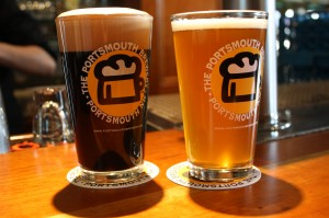 Portsmouth's Chat Noir Belgian Stout (left) and Whippersnapper Mild IPA