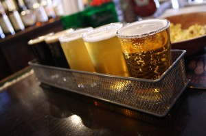 Sample tray of Haverhill Brewing beers at the Tap