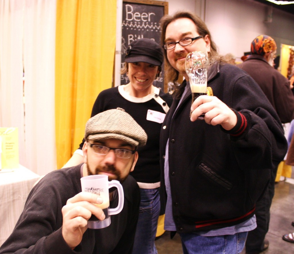 (l to r) Joseph Middleton of the Oregon Brew Crew, Eriel Althouse of Oakshire Brewing, and OBC's Bill Schneller.