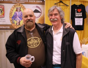 Oregon Brew Crew's Michel Brown (left) and Widmer brewer Ike Manchester