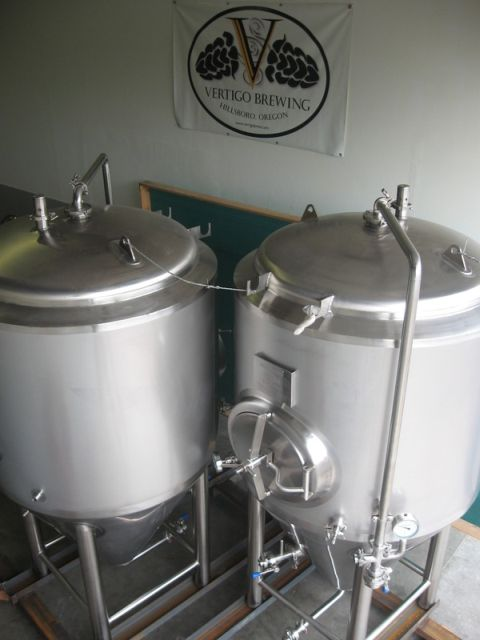 Vertigo fermenters (photo courtesy of Vertigo Brewing)