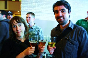 Brewpublic's Margaret Lut (left) and The Daily Pull's Brady Walen with three Goose Island brews