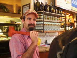 Hammer time: MacTarnahan's head brewer Vasili Gletsos by a firkin of dry-hopped Mac's Amber Ale