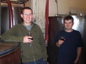 Walking Men: Brewers Jacob Leonard (left) and Dan Munch