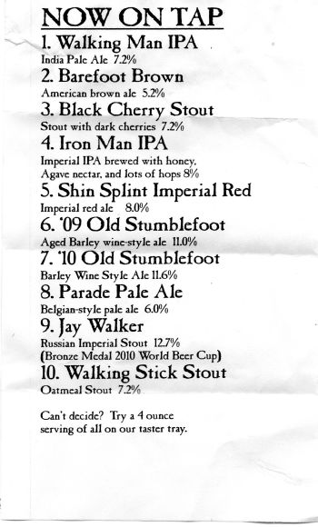Walking Man taplist April 30, 2010