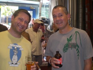 Former Full Sail brewer Cole Hackbarth (left) with Rogue's Brett Joyce at Full Sail's Annual Meeting 7/24/10