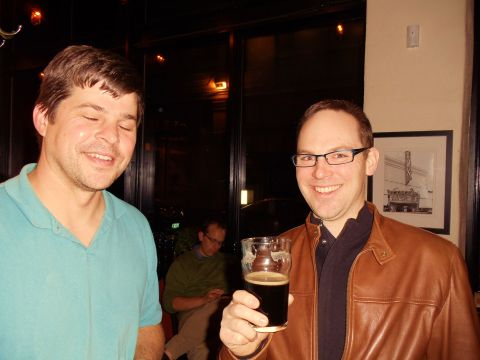 Bailey's Taproom owner Geoff Phillips (left) and Cascade brewer John Berry.