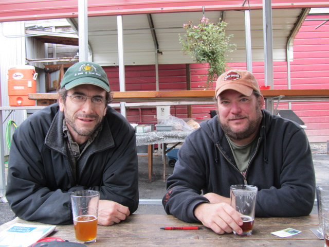 Amnesia Brewers Chris Spollen (left) and Kevin King enjoying a beer in the beer garden.