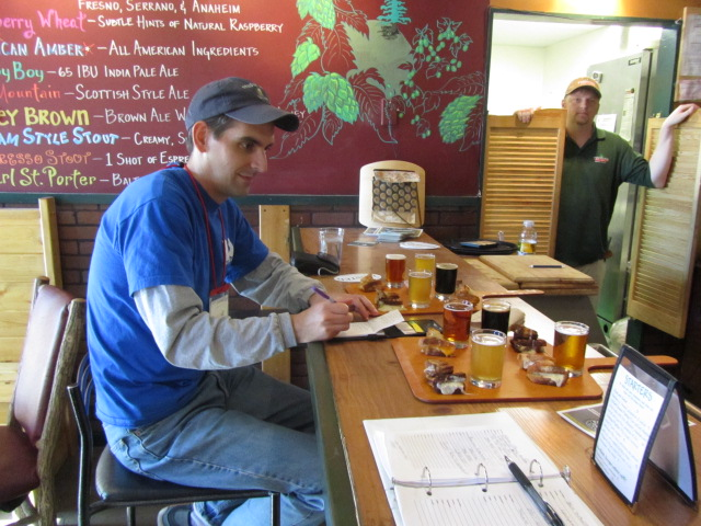 Sean Inman of Beer Search Party experiences pairing cheese and beer at Twisted Pine Brewing Co.