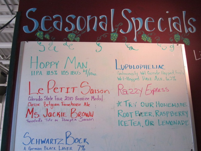 Seasonal specials board at Twisted Pine Brewing Co.